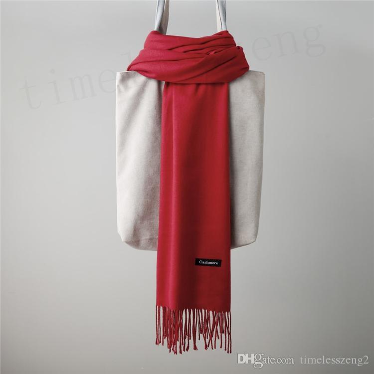 1 шт сплошной кашемировый шарф 24 цвета осень зима простые кисточки шарф мужчины и женщины пашмины 200 * 65 см классический кашемировый платок теплые обертывания