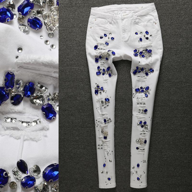 6ab405613 Compre Strass Jeans Femme Mulheres Denim Skinny Calça Jeans Skinny Calças  Lápis Branco Trecho Calças Menina A325 De Morph1ne, $73.3   Pt.Dhgate.Com