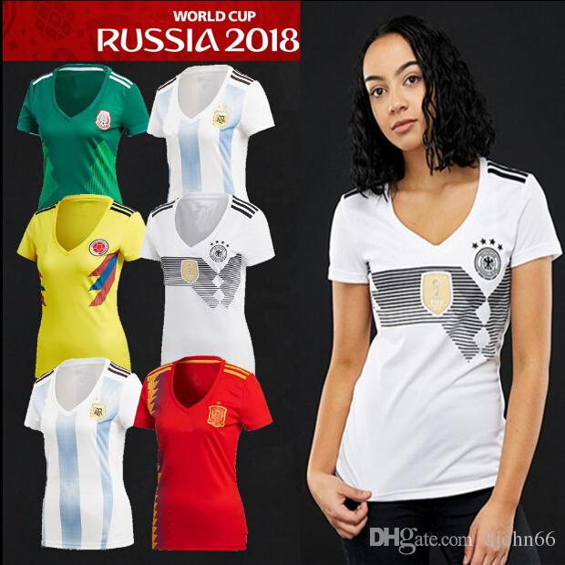 2018 World Cup Women Soccer Jerseys Home Argentina Spain Colombia Belgium  Russia Mexico Female Messi Football Jersey T Shirt UK 2019 From Djohn66 81dc15b163