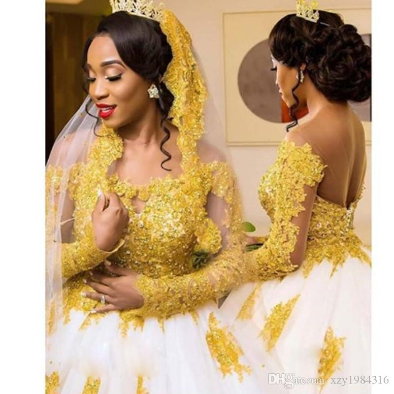 Luxus Golden Mermaid Brautkleid mit abnehmbaren Zug Kristall Perlen Spitze Applique Langarm Brautkleid Amazing Africa Wedding Dress