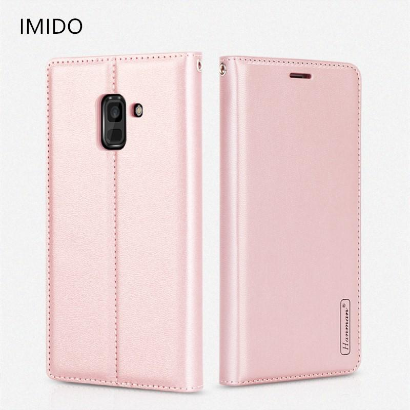 wholesale luxury magnetic Genuine leather Wallet flip phone case For Samsung Galaxy A8 2018 phone holder shockproof case A8plus2018