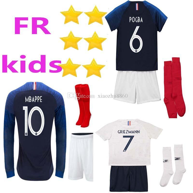 Kits Para Niños + Calcetín GRIEZMANN Inicio POGBA MBAPPE Francia Camisetas  De Fútbol Copa Mundial De KANTE 2018 Camiseta De Fútbol KANTE DEMBELE  Francais ... be5ce168dde0e