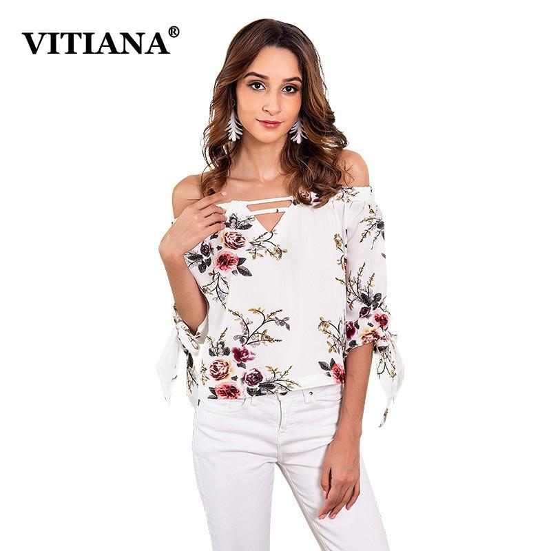 082e05117a1032 2019 VITIANA Women White Floral Print Chiffon Blouse Tops Female ...