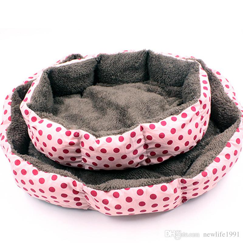 Dot Octagonal Pet House Kennel Super Soft Cotton Cute Dog Puppy Home Cat Winter Warm Dogs Washable Point Pet Nest Free Ship