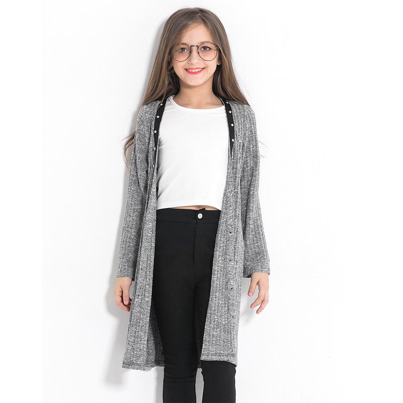 Fashion Teen Girls Sweater Coat Grey Cardigan Sweaters Wild Casual