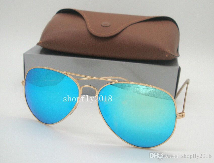 608c5445f5 Compre Envío De La Gota Mens Womens Flash Mirror Pilot Beach Gafas De Sol  Metal Sun Glasses Eyewear Oro Verde 58mm 62mm Lentes De Vidrio Con Estuche  Marrón ...