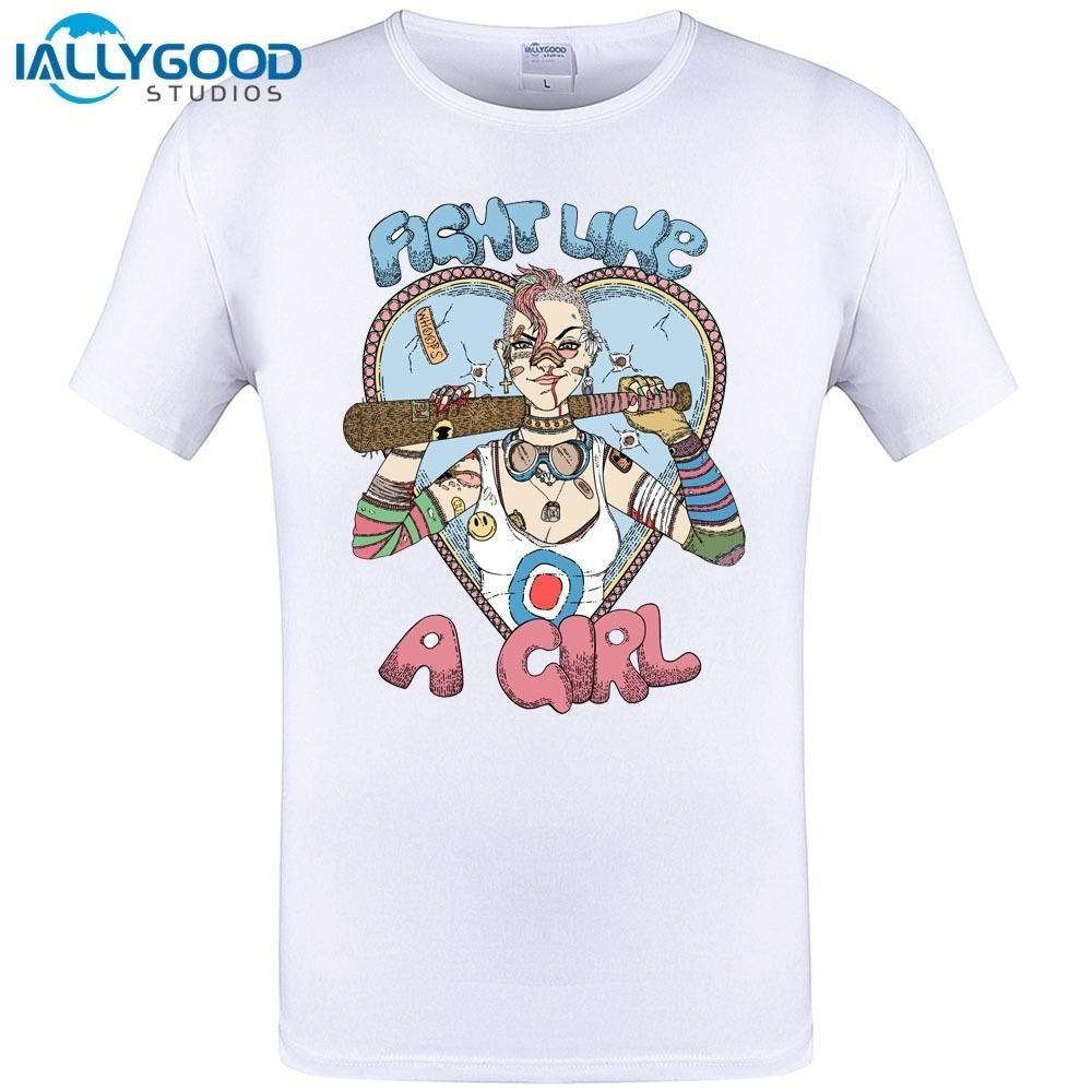 Fight Like A Tank Girl Vintage Style Men Customized T Shirt Short