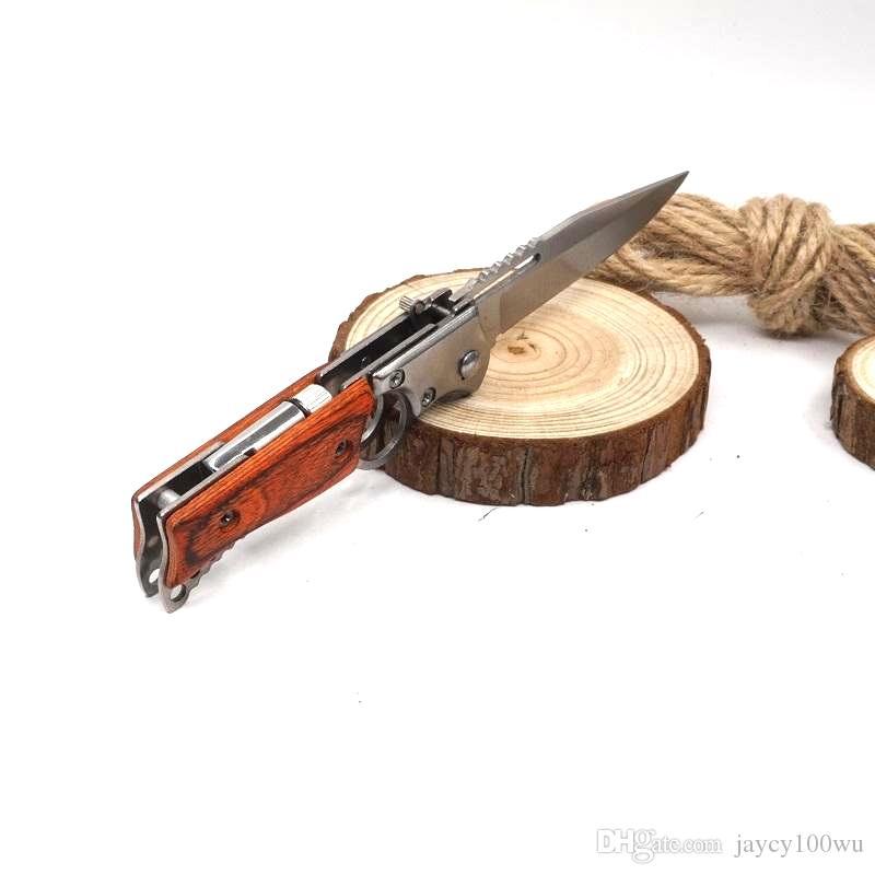 Nuevo estilo AK47 Cuchillo plegable de pistola Cuchillo de bolsillo Cuchillo táctico Camping abierto al aire libre Múltiples herramientas Cuchillos de supervivencia con luz LED Herramientas EDC