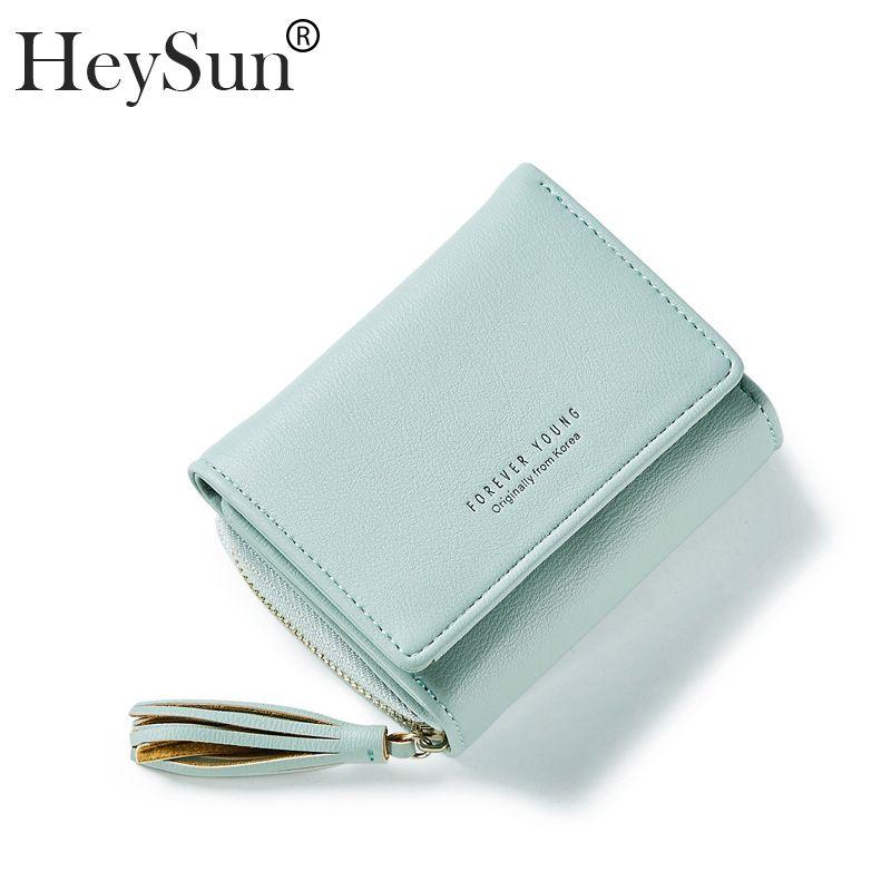 Ladies Purse Top Leather Small Wallet Women Tassel Design Short Wallets  Coin Purse Mini Clutch Female Card Holder Carteira Cell Phone Wallet  Wristlet Girls ... 026347cccd2