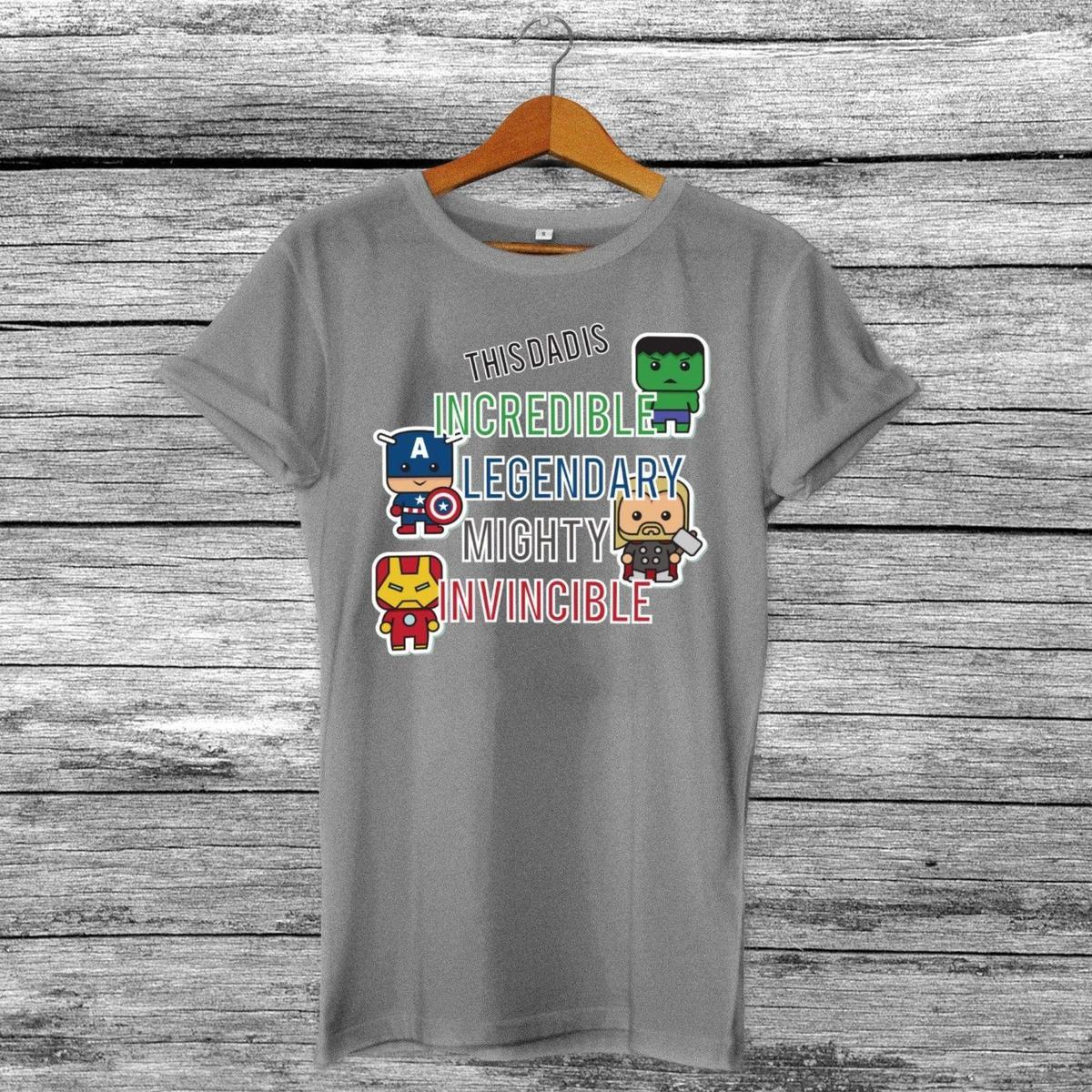 283292f44 This Dad Is - Marvel The Avengers Inspired Father's Day Present T-Shirt Grey