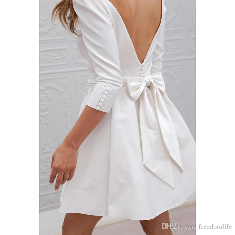 Cheap Informal Short Wedding Dresses With 3/4 Sleeve Simple Cheap Mini Reception White Bridal Gowns Sexy Open Back Wedding Party Dresses