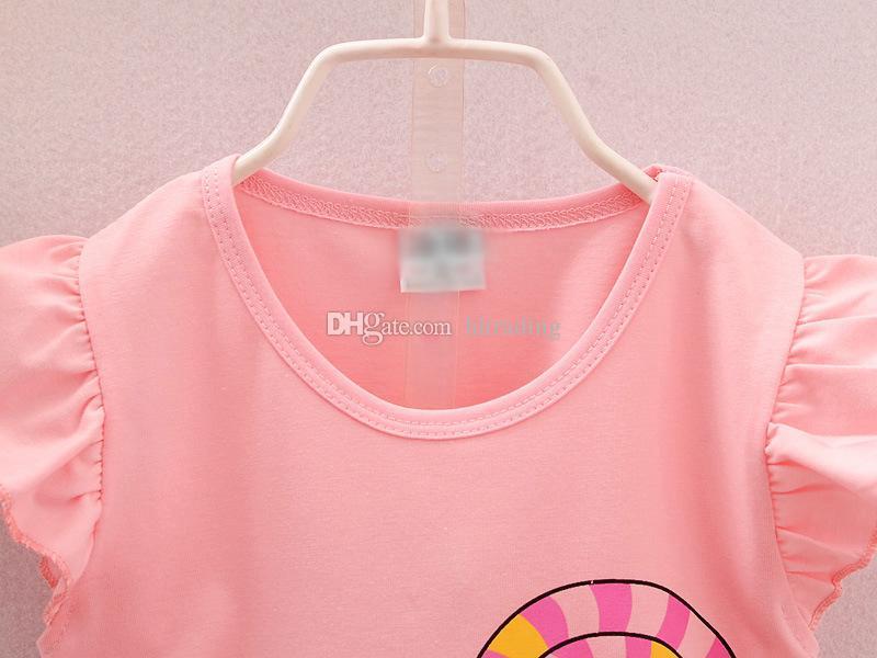 Children Lollipop outfits girls top+Floral shorts 2018 summer Baby suit Boutique kids Clothing Sets C3843