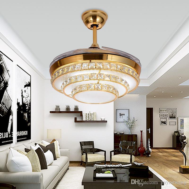 Modern gizli dilsiz fan lambası Kristal tavan fanı Telecontrol fan lambası restoranda 42 inç Görünmez Bıçakları Tavan Hayranları