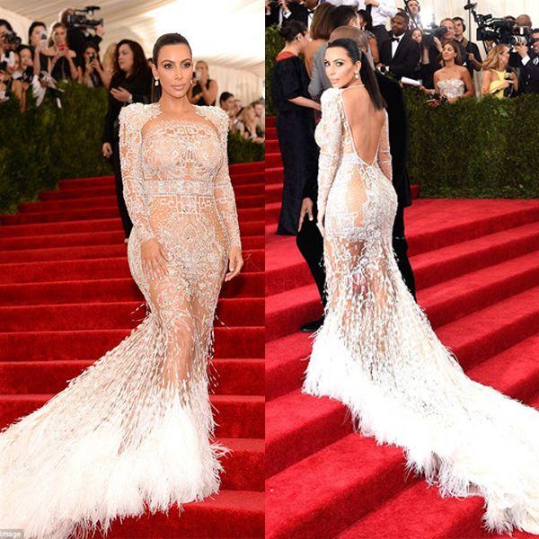 Sheer Beaded Evening Dress Beyonce Met Ball Red Carpet Dresses Nude