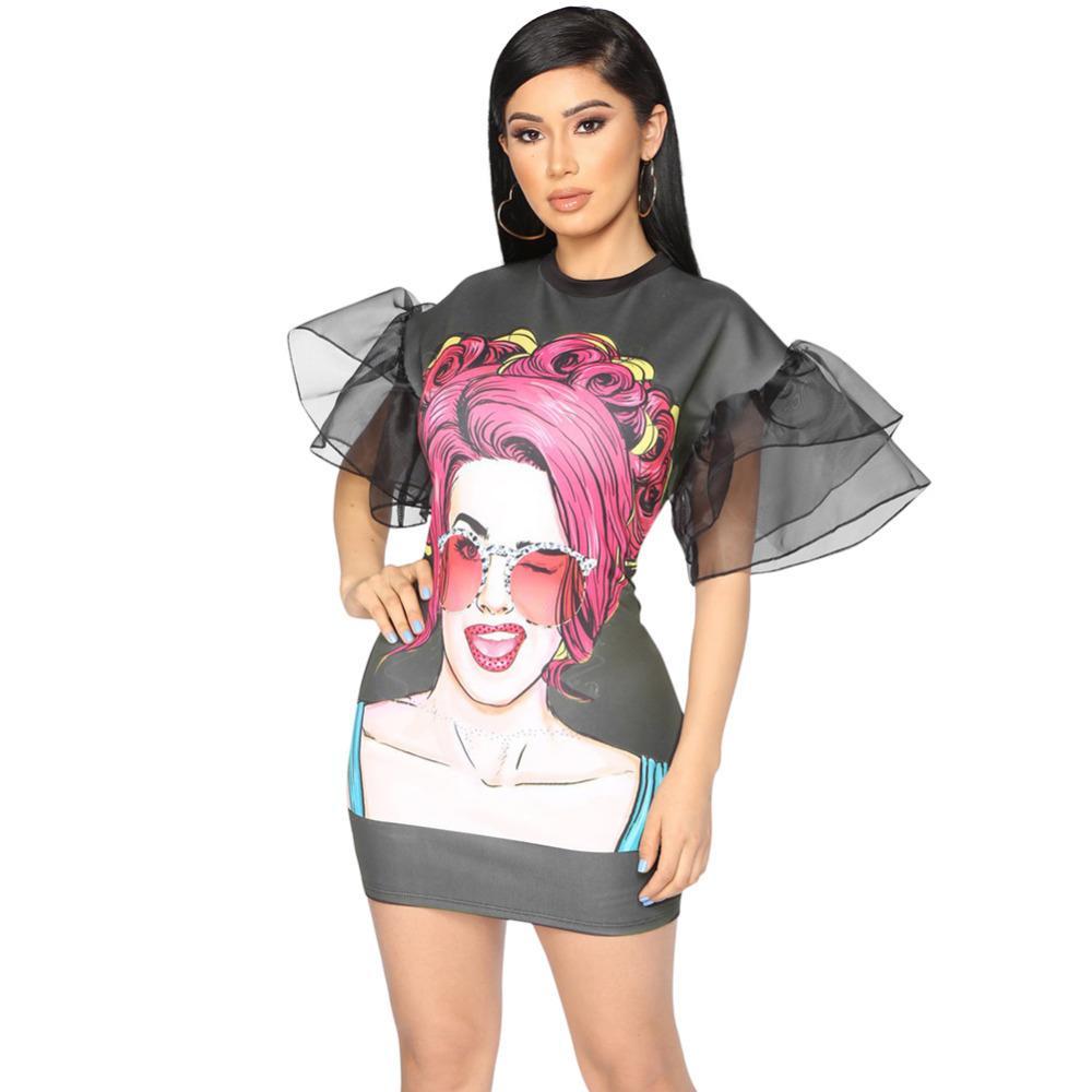93eb38a4a9 Women Elegant Ruffles Organza Sleeve Dress Flared Mesh Half Sleeves Pencil  Dress Kawaii Lady Print Front Party Shift Dress Black