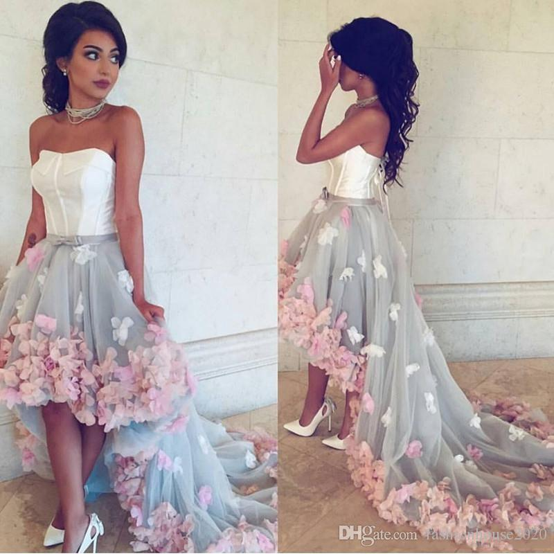 9f73aac143 2019 Prom Dresses Sexy Strapless Pink Handmade Flowers Sleeveless Short  High Low Silver Tulle Plus Size Custom Party Dress Evening Gowns