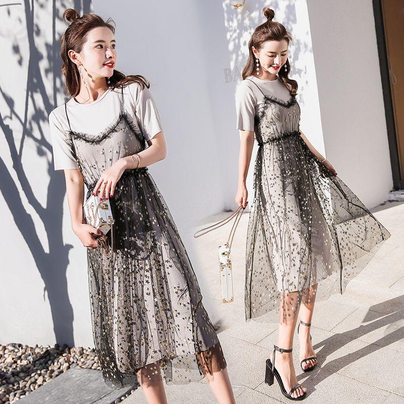2019 2018 Korean Fashion Women Summer Dress Casual Beach O Neck Long