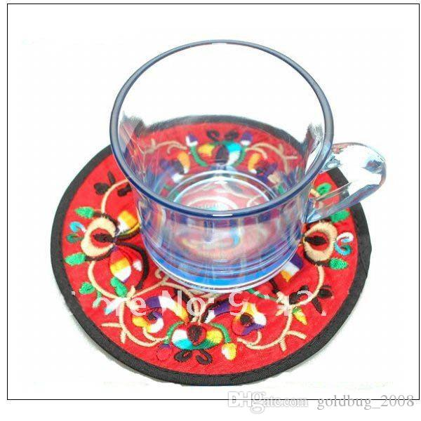 Personalized Round Embroidery Eco Coasters Christmas Favor Chinese style Fabric Cup Mats /mix color