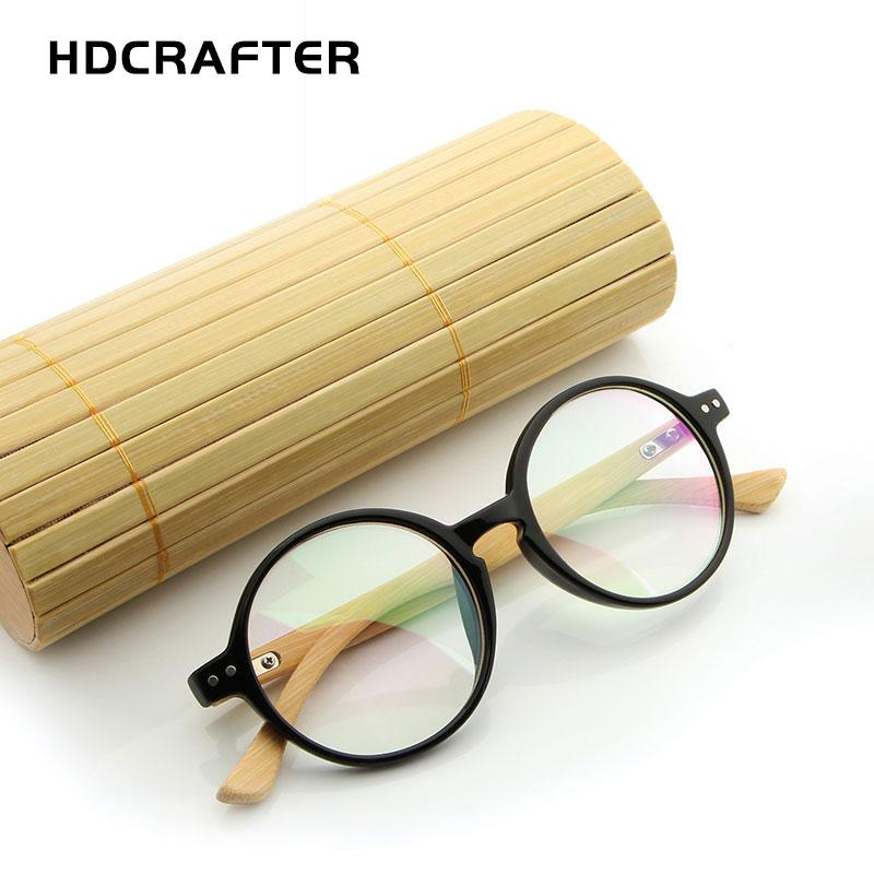 baf5ae7f50 2019 HDCRAFTER Round Wood Bamboo Eyeglasses Men Retro Optical Glasses Frame  Spectacle Frames Women Mens Accessories 2018 From Lotusnut