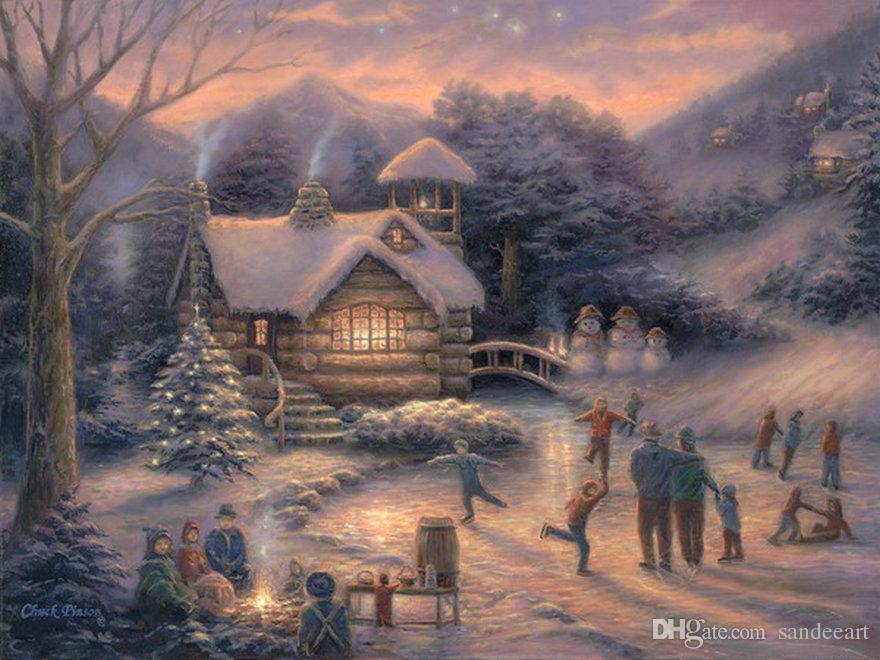 Best Thomas Kinkade Landscape Oil Painting Christmas Village Art ...
