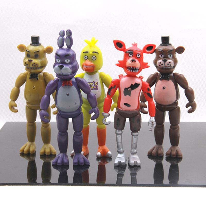 New 5 Pcs /Set Five Nights At Freddy S Action Figure Toys Foxy Freddy Chica  Freddy Pvc Model Dolls With Led Lights For Kids Gift