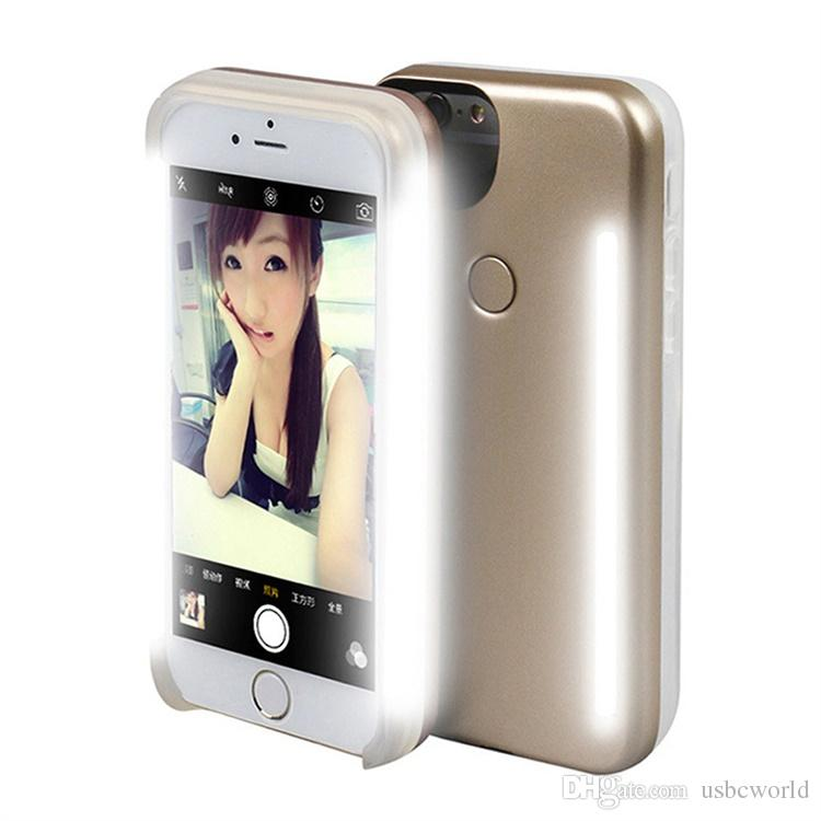 LED Lumière Selfie Cas De Téléphone Lumière Flash Téléphone Lumineux Couverture Arrière Cas Pour IPhone 6 6S Plus 7 Plus 8 Plus