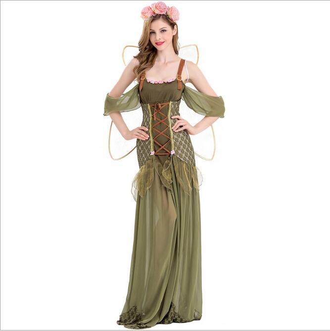 New Arrival Halloween Party Girls Cosplay Clothing Flower Fairy Elf Role  Playing Cosplay Dress Green Forest Elves Dress Superman Costume Halloween  Costumes ...