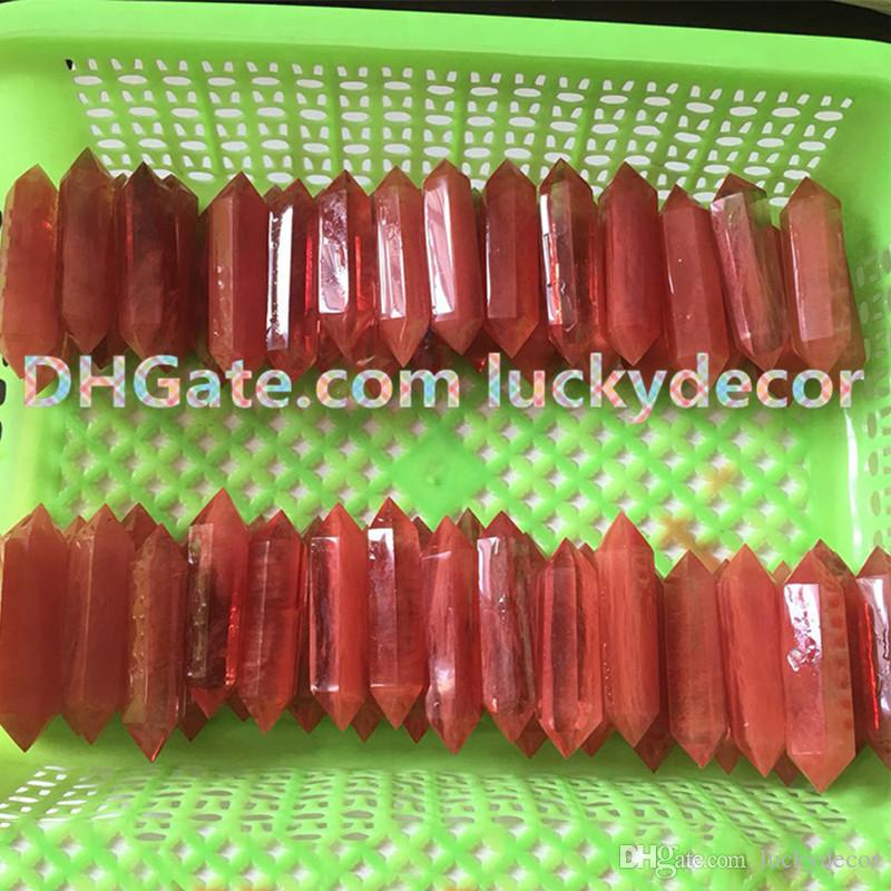 Faceted Red Smelt Quartz Crystal Wand Point Double Terminated Quartz Reiki Meditation Magical Wand Tusk Spike Undrilled Healing Crystal Gird