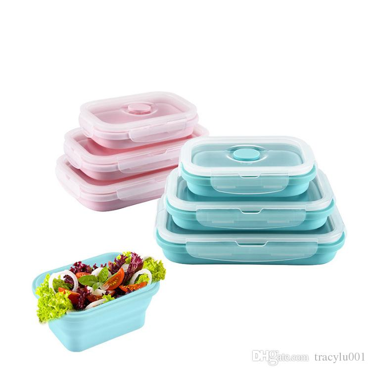 Silicone Lunch Box Fashionable U0026 Stackable Food Storage Lunch Bento Box  Freezer To Microwave Oven Safe 3 Size Available Cheap Dinnerware Sets Cheap  China ...