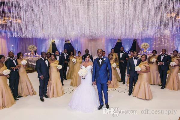 Champagne Vestidos de dama de honor Sirena Un hombro pliegues Vestidos largos de dama de honor africanos Vestidos de tallas grandes más formal