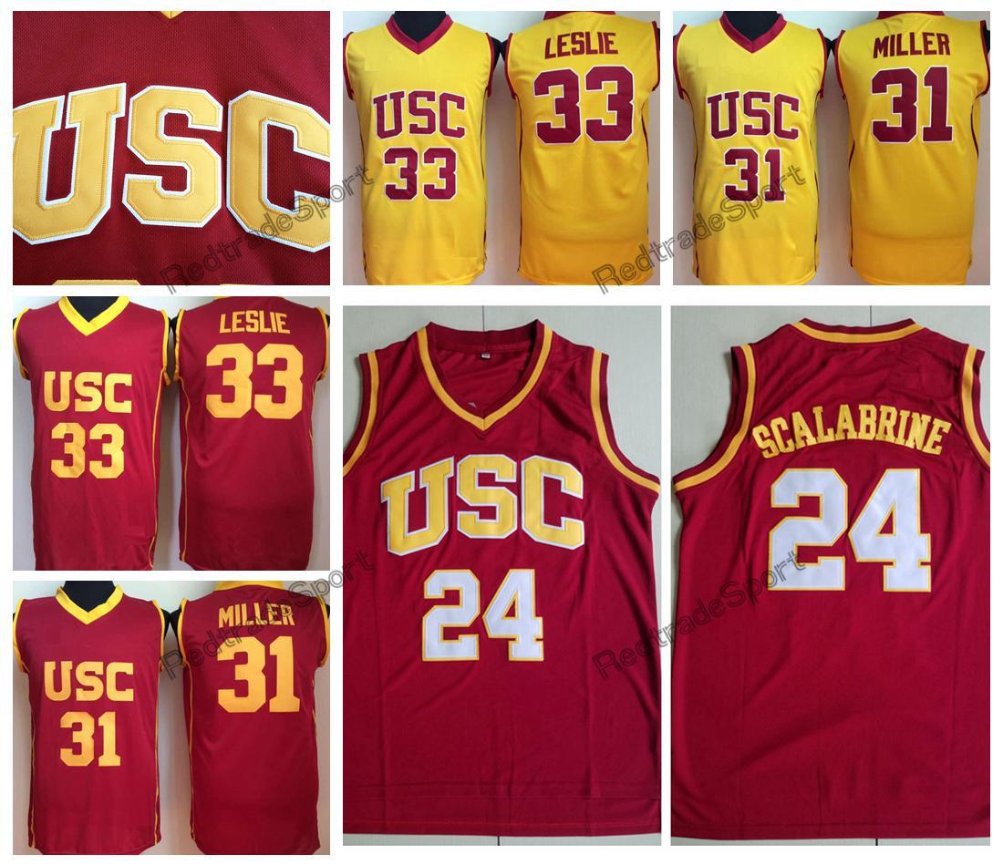 super popular 0f5eb 6337b Vintage USC Trojans Brian Scalabrine #24 College Basketball Jerseys Lisa  Leslie #33 Home Red Yellow Cheryl Miller #31 Stitched Shirts