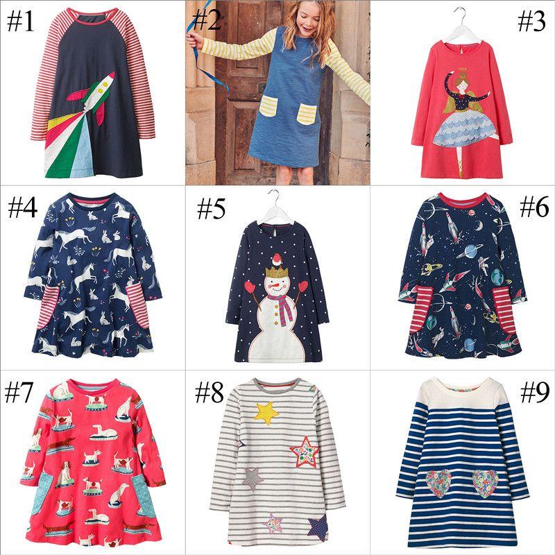 d2b9ecc05c454 INS Girl Xmas Long Sleeve Dress for Kids Christmas Snowman Unicorn Clothing  Cartoon Galaxy Printed Princess Appliqued Kids Autumn Dress