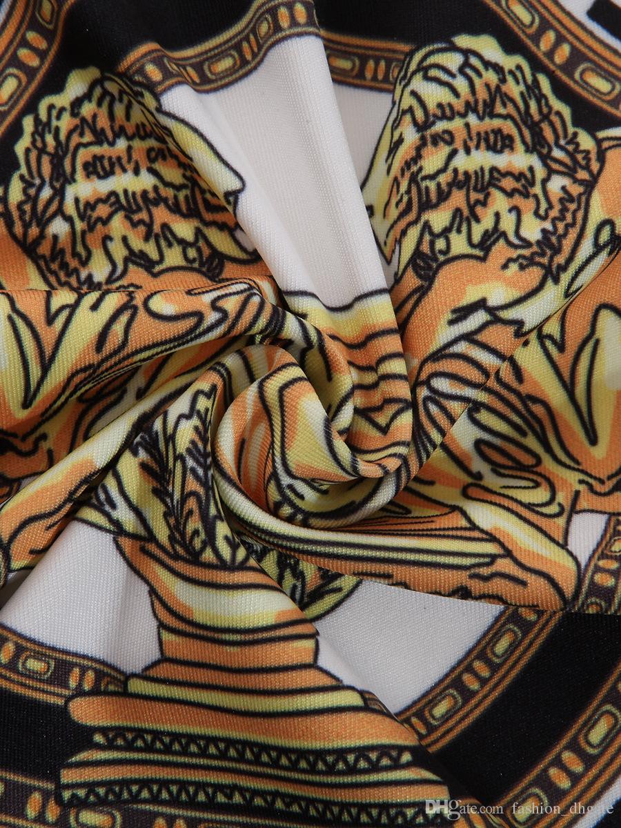 Stampa 2018 Nuovo autunno Scollo a V profondo Camicia a maniche lunghe a maniche lunghe Camicia da donna a catena dorata Top stampati Causale femminile Club WearTop Basic shirt