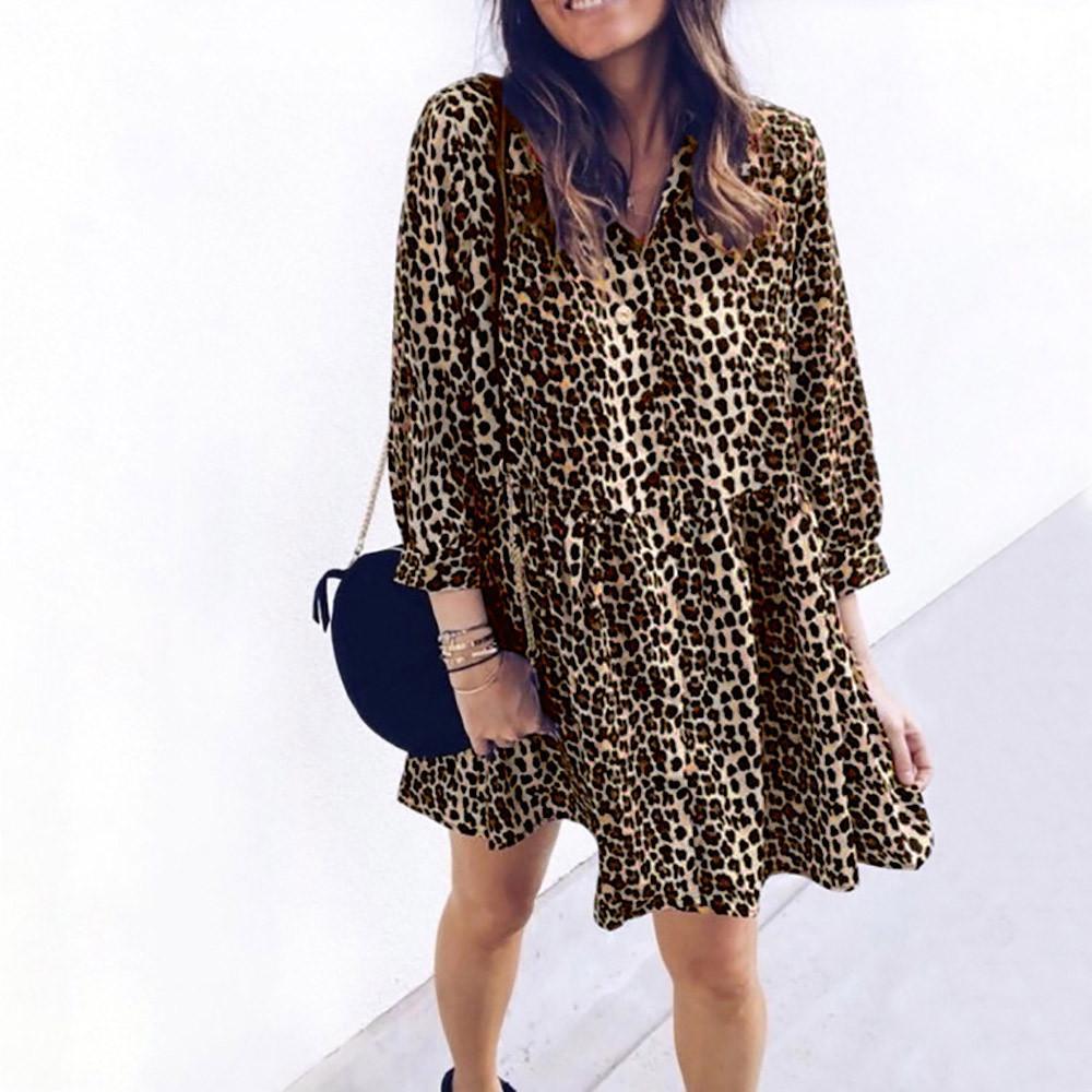 32b64f9cee5d1 Leopard Print Women Long Sleeve Mini Dress Fashion Female Autumn ...