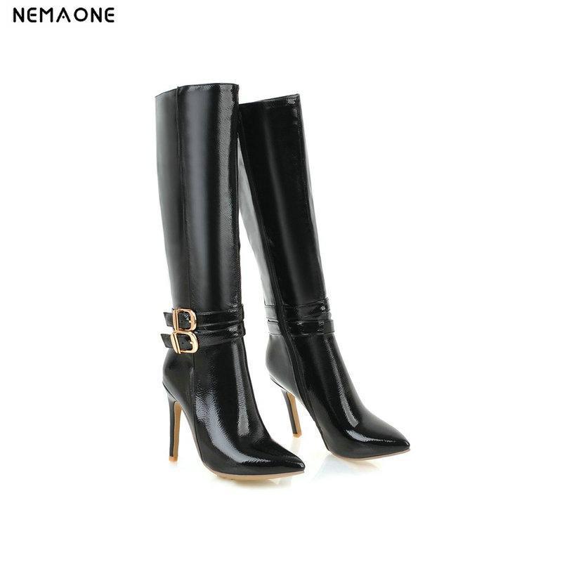 c9ae2494b Compre NEMAONE New High Heels Botas De Cano Alto Do Joelho Da Mulher Outono  Botas De Inverno Poined Toe Vestido De Festa Sapatos Mulher Tamanho Grande  41 42 ...