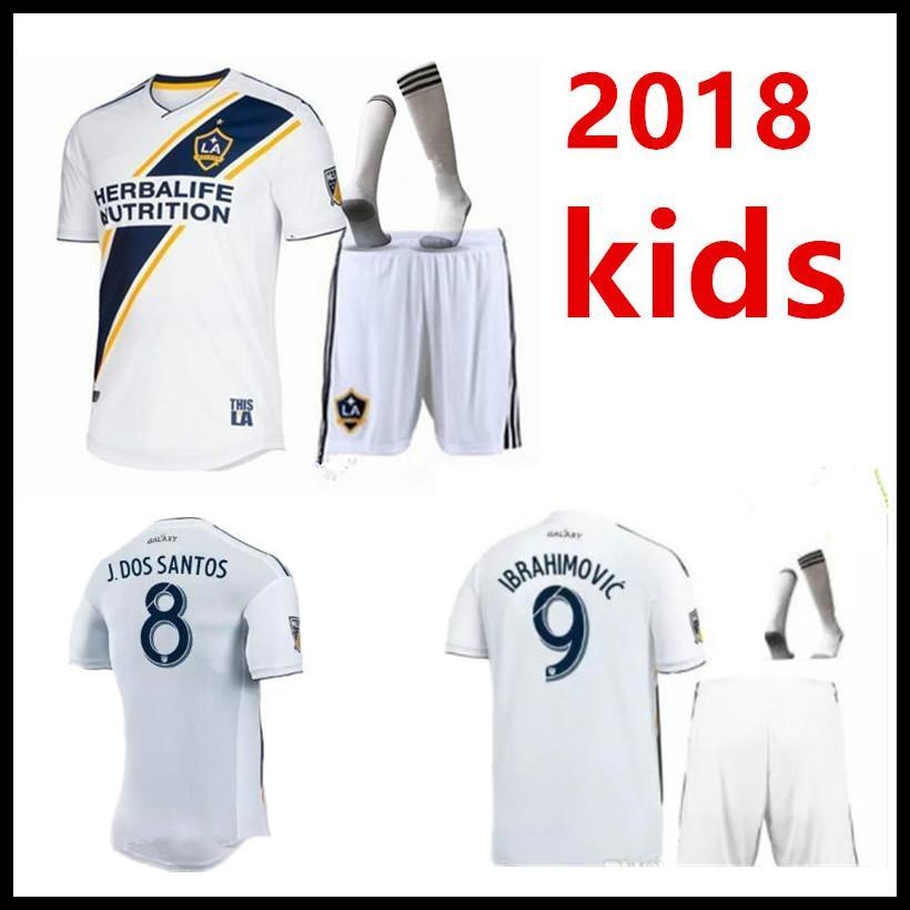 new styles 97872 c6559 2018 NEW Los Angeles Galaxy home Soccer Jerseys LA Galaxy Ibrahimovic shirt  ALESSNDRINI J.DOS SANTOS GIOVANI LLETGET kids kit jersey