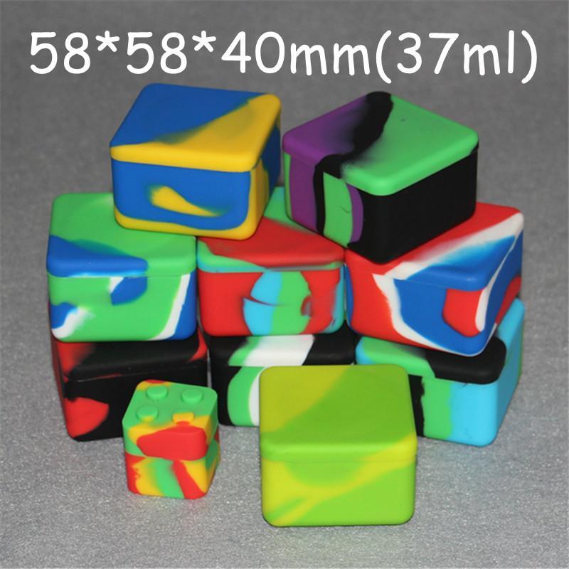 Lego balmumu konteynerler silikon kutu 37 ml silikon konteyner food grade kavanozlar dab aracı depolama kavanoz buharı vape vape FDA onay için yağ tutucu