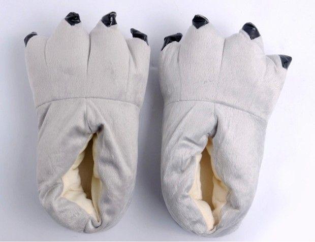 Frauen Männer Schuhe Huaraches Turnschuhe Nette lustige Tierpfote Pantoffeln Monster Klaue Cartoon Slipper warme weiche Plüsch Winter Hallenschuhe
