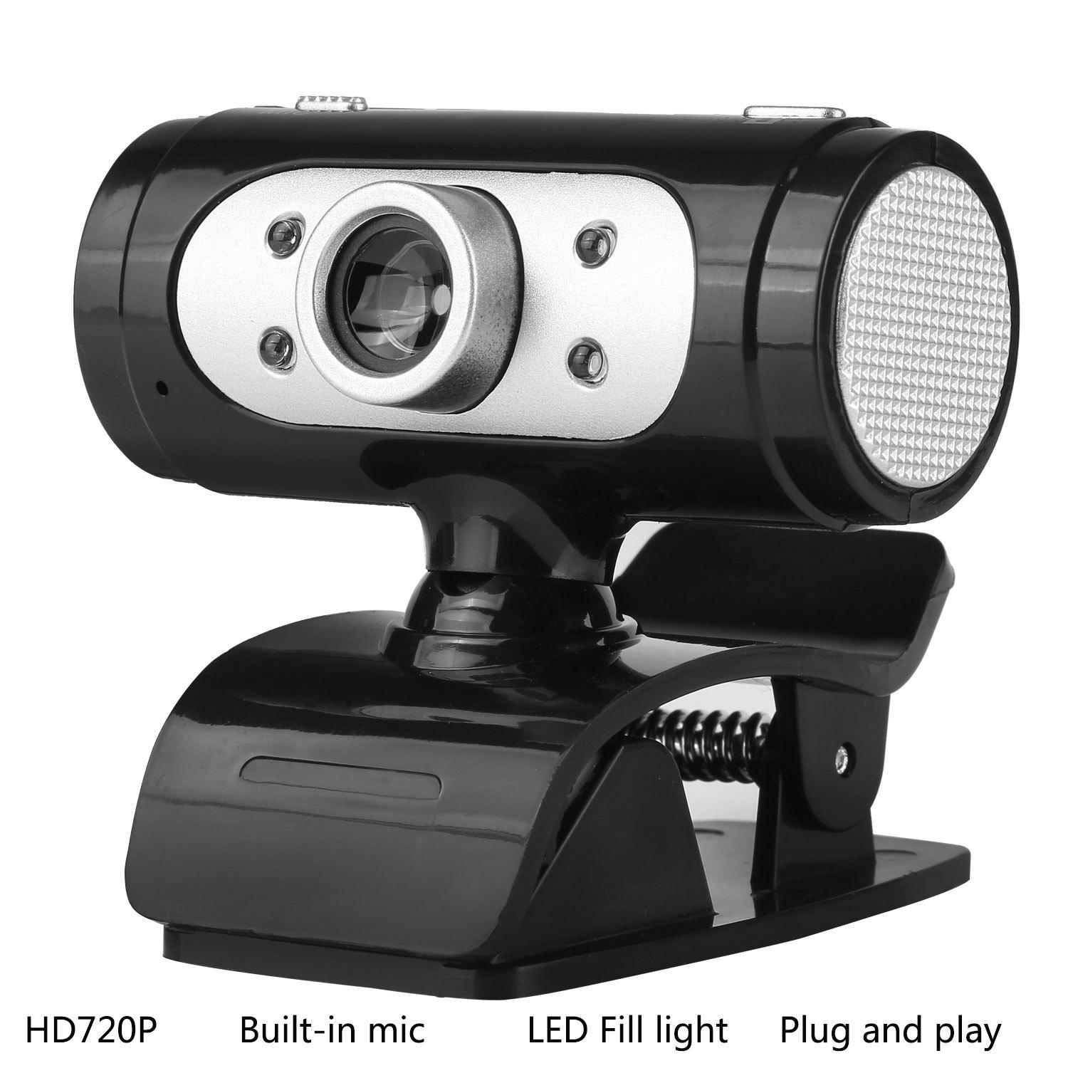 HD 720P USB Webcam Rotatable PC Computer Camera Video Calling and Recording with Noise-canceling Mic Clip on Style Plug and Play