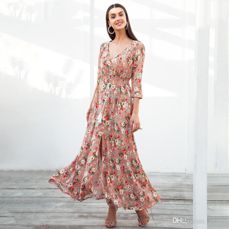 470b75a9337 Acheter Boho Chic Robe D été Maxi Femmes Bouton Causal Élastique Longue Robe  De Plage Femme Robe Imprimée Printemps Robe Femme De  30.16 Du Almall