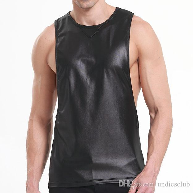 838b29af1f22f 2019 Faux Leather Mens Workout Tank Tops Fitness Bodybuilding Clothing Black  Low Cut Armholes Vest Muscle Singlets Men Activewear From Undiesclub