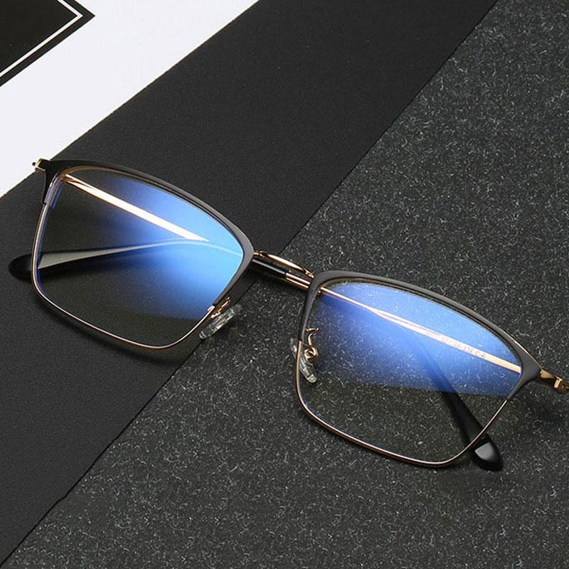 1ff8f504dcf Fashion Blue Light Glasses Retro Metal Frame Anti Blue Ray Computer Glasses  Vintage Designer Optics Metal Glasses Frame Mens Sunglasses Police  Sunglasses ...