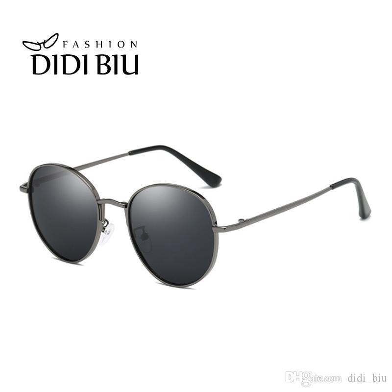 54c02c3c5 YOK'S Polarized Round Sunglasses Men Brand Designer Brown Hipster ...