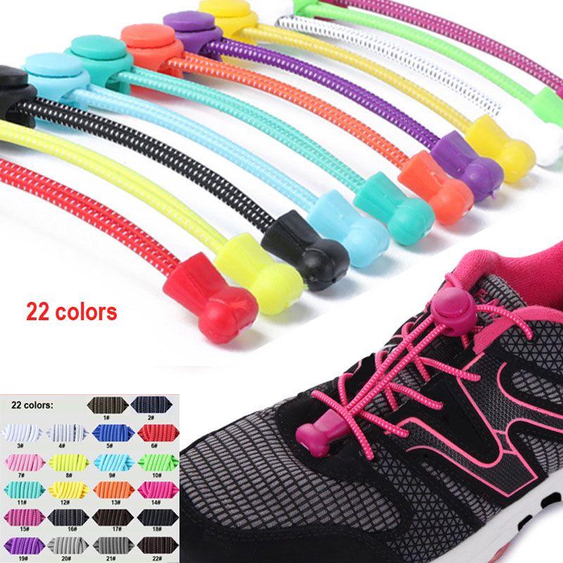 tembel ayakkabı bağcıkları kilitleme ayakkabı bağcığı yok kravat ayakkabı bağcıkları Yeni yaratıcı elastik kilitli ayakkabı bağı emniyet elastik dantel, 22 renk seçmek için