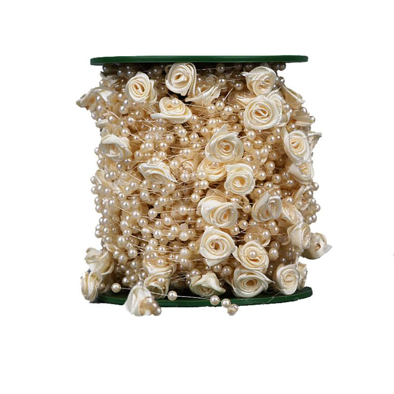 10 Meters Fishing Line Artificial Pearls Rose flower Beads spool rope Chain Garland Flowers Wedding Party Decoration