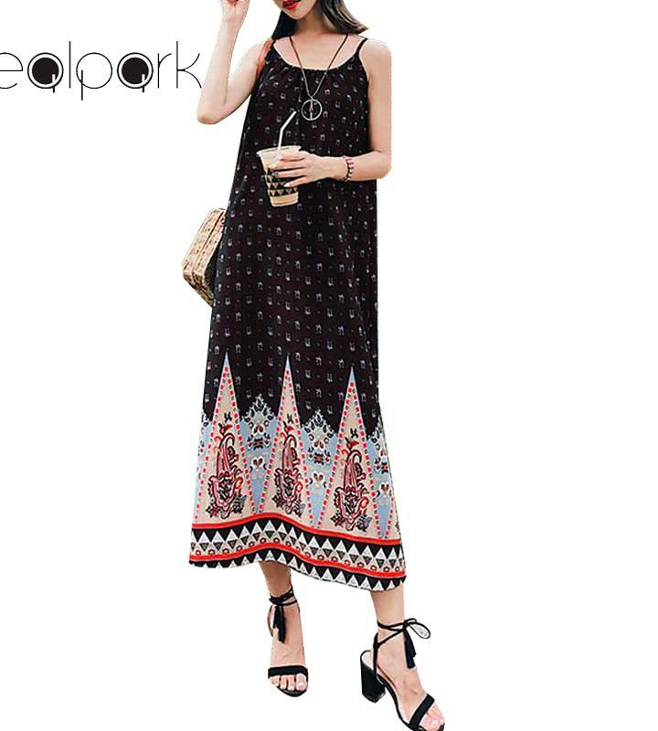 dfa2afbbc3 Women Vintage Floral Print Maxi Dress Sleeveless Backless O Neck Belt Spaghetti  Strap Beach Casual Summer Strap Dress 2018 Black Party Formal Dresses Dress  ...