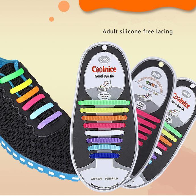 12 Farben Erwachsene Freizeit Silikon Schnürsenkel Gummi Keine Krawatte Elastizität Frei Von Binden Faule Menschen Schnürsenkel Schuhe Zubehör AAA2092