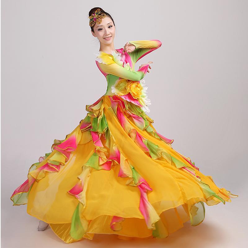 69ab30d48852b Acheter Espagnole Corrida Danse Du Vêtement Jupe Longue Robe Flamenco Fille  Jupes Jaune Robes De Flamenco Pour Femmes Filles De  126.21 Du Blueberry15  ...