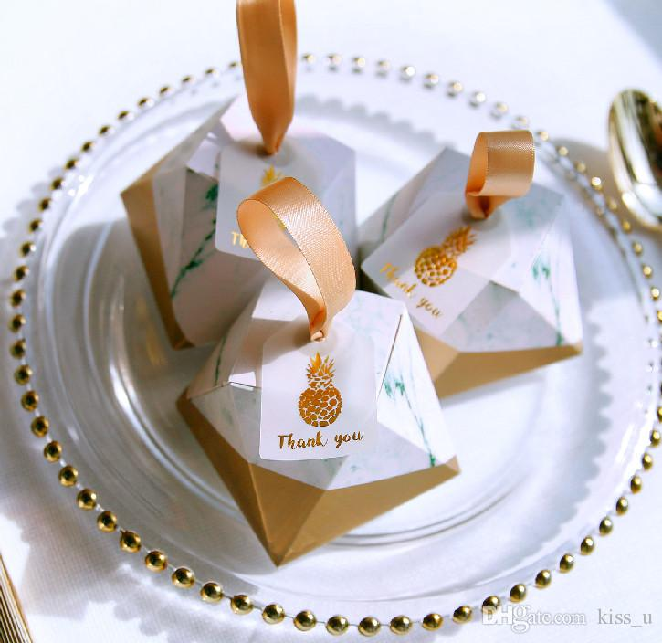 Diamond Shape Marble Nordic Style Candy Boxes Wedding Favors
