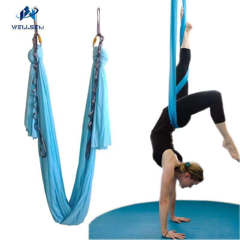 Yoga Belts Fitness & Body Building 5m X 2.8m Anti-gravity Yoga Hammock Fabric Yoga Flying Swing Yoga Hammock Practicing Inversion Exercise Strap Traction Device